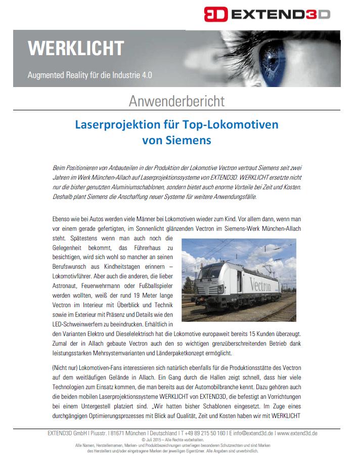 Laserprojektion für Top-Lokomotiven von Siemens